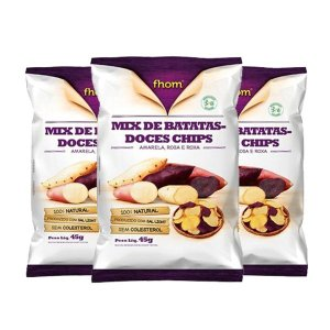 Mix De Batatas-doces Chips Fhom 3 Unidades De 45g Cada