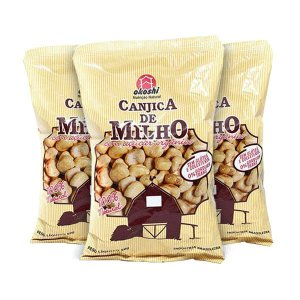 PIPOCA DE CANJICA DE MILHO COM AÇÚCAR ORGÂNICO OKOSHI CONTENDO 3 PACOTES DE 50g CADA