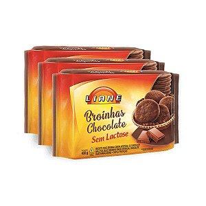 BROINHAS DE CHOCOLATE SEM LACTOSE LIANE CONTENDO 3 PACOTES DE 400g CADA