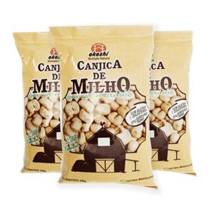 Pipoca Salgada Canjica De Milho Com Sal Marinho Okoshi Contendo 3 Pacotes De 50g Cada