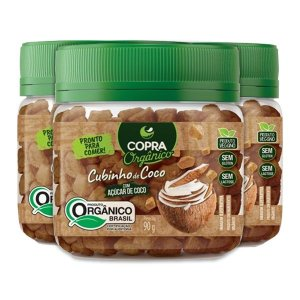 Cubinhos De Coco Com Açúcar De Coco Copra Contendo 3 Potes De 90g Cada