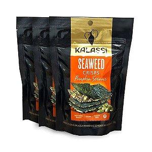 Seaweed Crisps Kalassi Pumpkin Sesame - Snack Algas Marinhas com semente de abóbora Contendo 3 Pacotes de 25g cada