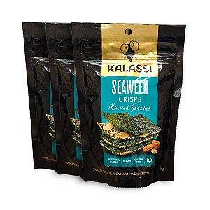 Seaweed Crisps Kalassi Almond Sesame - Snack Algas Marinhas Com Amêndoas Contendo 3 Pacotes De 25g Cada