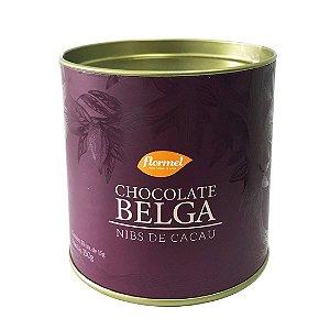 Bombom Chocolate Belga Ao Leite Com Nibs Lata Flormel 150g