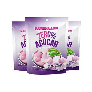 Marshmallow Zero Açúcar Sabor Morango Florestal Contendo 3 pacotes de 70g cada