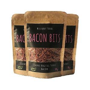 Bacon Bits Vegano Carne Vegetal Sabor Bacon Mistura Foods Contendo 3 Pacotes De 90g Cada