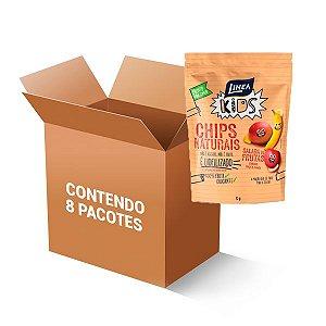 Chips Naturais Salada De Frutas (banana, Maçã E Manga) 100% Fruta Crocante Linea Contendo 8 Pacotes De 12g Cada