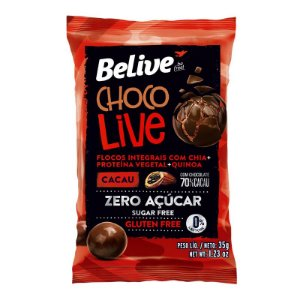 Choco Live Drageados Zero Glúten, Zero açúcar Cacau com Chocolate 70% Belive 35g cada