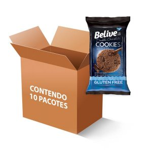 Cookies Belive be free Double Chocolate Sem Glúten, Zero Açúcar e Zero Lactose contendo 10 pacotes de 34g cada