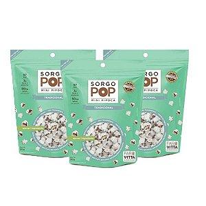 MiniPipoca Sorgo Pop Tradicional Faro Vitta contendo de 3 pacotes30g cada