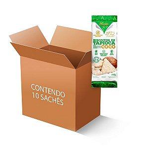 Biscoitos de Tapioca com cobertura sabor Coco contendo 10 sachês de 15g cada