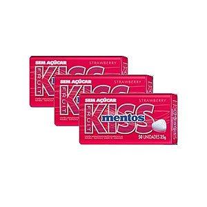 Mentos Kiss Latinha Morango Contendo 3 Latas De 35g Cada