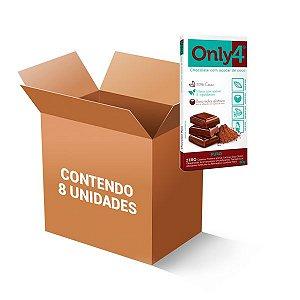 Tablete De Chocolate 70% Cacau Com Açúcar De Coco Puro Only4 Contendo 8 Barras De 80g Cada