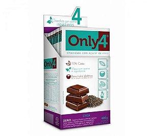 Tablete De Chocolate 70% Cacau Com Açúcar De Coco E Chia Only4 Contendo 6 Barras De 80g Cada