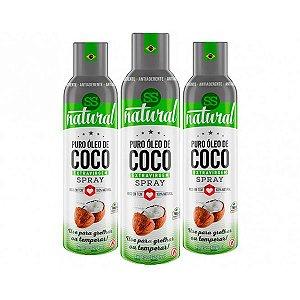 Óleo De Coco Extravirgem Puro Spray Ss Natural Contendo 3 Frascos De 128ml Cada