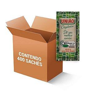 Açúcar Orgânico Sachê União contendo 400 unidades de 5g cada