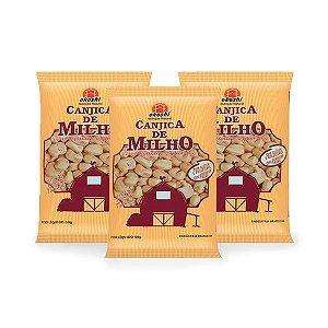 Pipoca de Canjica de Milho com Açúcar de Coco Okoshi contendo 3 pacaotes 50g cada