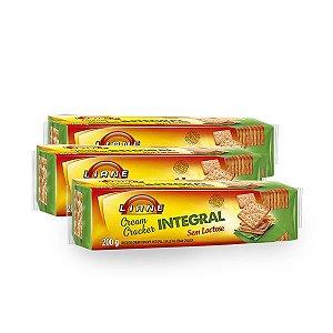 Biscoito Cream Cracker Integral Sem Lactose Liane contendo 3 pacotes de 200g cada