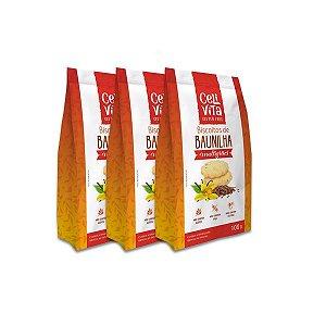 Biscoitos de baunilha multigrãos sem gluten e sem lactose CeliVita Gluten Free contendo 3 pacotes de 100g cada