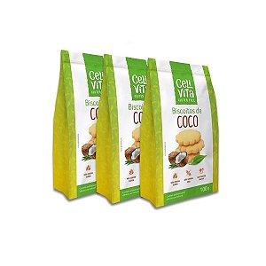 Biscoitos de Coco Zero Glúten, Zero Lactose Celivita contendo 3 pacotes de 100g cada
