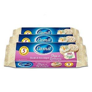 Biscoito de Arroz Integral Camil Chia e Linhaça contendo 3 pacotes de 90g cada