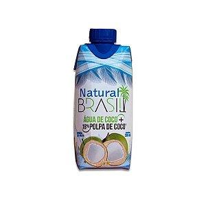 Água de Coco +18% Polpa de Coco Natural Brasil contendo 3 unidades de 330ml cada