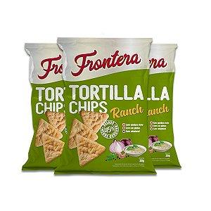Tortilla Chips Ranch 0 Glúten Frontera contendo 3 pacotes de 38g cada