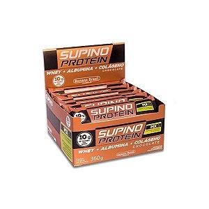Supino Protein Chocolate Whey + Albumina + Colágeno contendo 12 barras de 30g cada