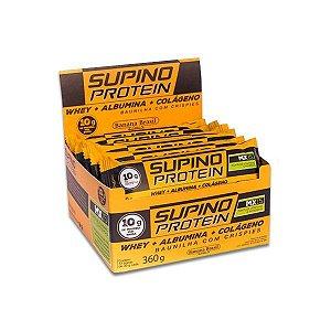 Supino Protein Baunilha com Crispies Whey + Albumina + Colágeno contendo 12 barras de 30g cada