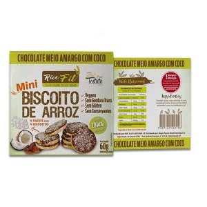 Biscoito de Arroz Mini coberto com Chocolate Meio Amargo e Coco Rice Fit 60g