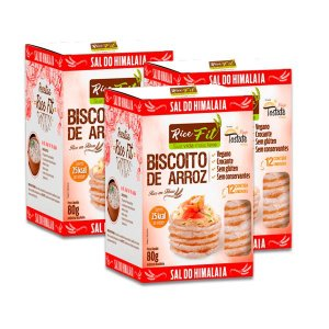 Biscoito de Arroz Sal do Himalaia Rice Fit contendo 3 caixas de 80g cada