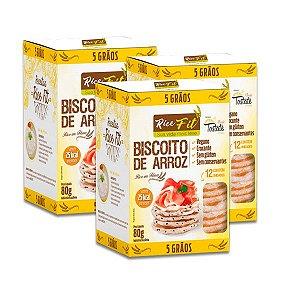 Biscoito de Arroz 5 Grãos Rice Fit contendo 3 caixas de 80g cada
