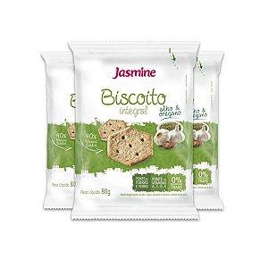 Biscoito Integral Alho e Orégano Jasmine contendo 3 pacotes de 80g