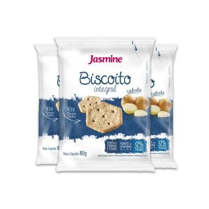 Biscoito Integral Cebola Jasmine contendo 3 pacotes de 80g