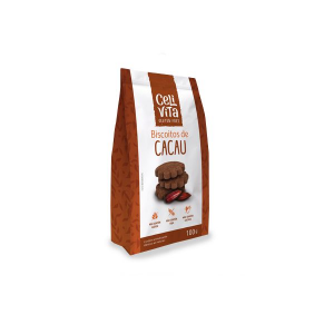 Biscoitos de Cacau Zero Glúten, Zero Lactose Celivita contendo 3 pacotes de 100g cada