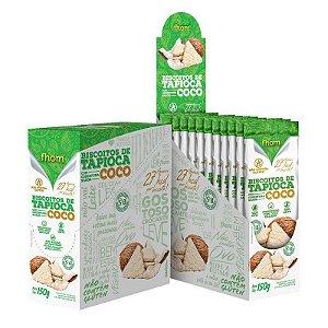 Biscoitos De Tapioca Com Cobertura Sabor Coco Fhom Contendo 10 Sachês De 15g Cada