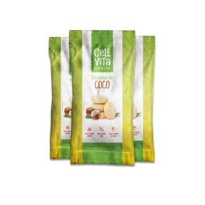 Biscoito de coco sem gluten e sem lactose CeliVita Gluten Free contendo 3 pacotes de 30g cada