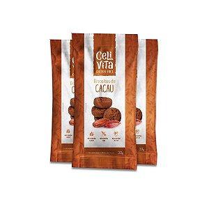 Biscoito de cacau sem gluten e sem lactose CeliVita Gluten Free contendo 3 pacotes de 30g cada