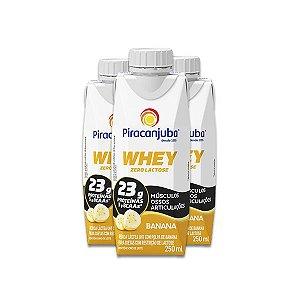 Whey Zero Lactose Banana Piracanjuba contendo 3 unidades de 250ml cada
