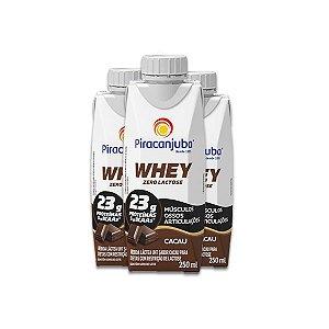 Whey Zero Lactose Cacau Piracanjuba contendo 3 unidades de 250ml cada