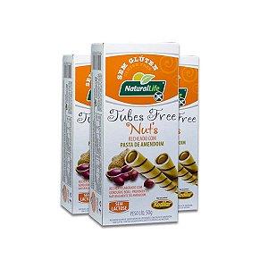 Tubes Free Nut´s recheado com Pasta de Amendoim Sem Glúten Natural Life Kodilar contendo 3 caixinhas de 50g cada