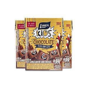 Leite Aromatizado UHT sabor Chocolate Zero Açúcar Linea contando 3 caixinhas de 200ml cada