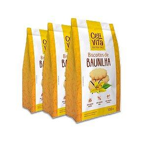 Biscoitos de baunilha sem gluten e sem lactose CeliVita Gluten Free contendo 3 pacotes de 100g cada