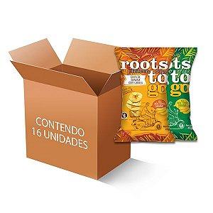 Chipps de Banana Sortidos Roots to go contendo 16 unidades de 45g