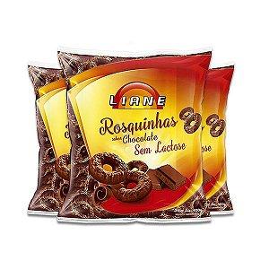 Rosquinhas De Chocolate Sem Lactose Liane contendo 3 pacotes de 400g cada
