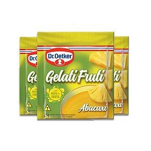 Gelatifruti Gelatina Dr. Oetker Abacaxi contendo 3 pacotes de 25g cada