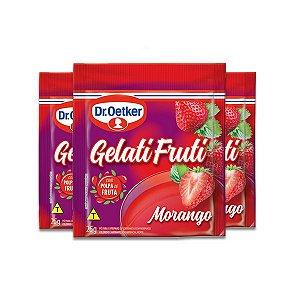 Gelatifruti Gelatina Dr. Oetker Morango com 3 pacotes de 25g cada