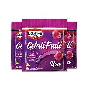 Gelatifruti Gelatina Dr. Oetker Uva com 3 pacotes de 25g cada