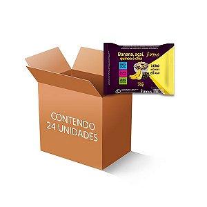 Tablete de Frutas Banana, Açaí, Quinoa e Chia Zero Açúcar, Zero Glúten contendo 24 unidades de 20g cada