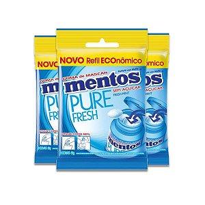 Mentos Bag Refil Fresh Mint Zero Açúcar com 3 pacotes de 56g cada